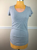 Athleta Womens Top Organic Cotton Stretch Fitted Scoop Neck Gray Size M