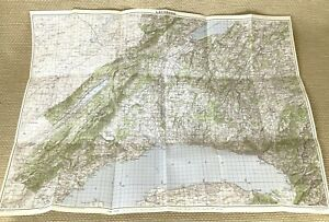 1950 Vintage Map of Switzerland Lausanne Evian Nyon Rolle Romont Swiss Lakes
