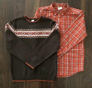 Gymboree WILDERNESS LAKE Sweater Orange Plaid Button Up Top Shirt Boys L 10-12
