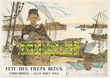 Fête des filets bleus Concarneau 1964 - Tourisme - affiche plastifiée