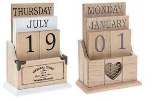 Vintage Wooden Perpetual Eternal Desktop Calendar Blocks Choice of Designs  NEW
