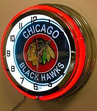 "CHICAGO BLACK HAWKS RED NEON CLOCK - 19"" DIAMETER"