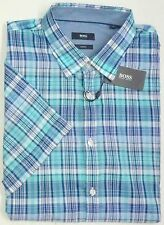 cb3a7a85e Hugo Boss Shirt Size Large Blue Green Plaid Slim Fit Short Sleeve 100  Cotton A4