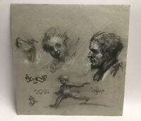 Antique Pencil Drawing Of Figures Head Portraits