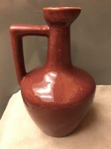 1920-30s Uhl Pottery Pitcher Jug Creme de Coffee Liqueur - Burgundy/Maroon - 164