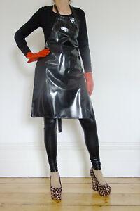 Suzie High Apron Shiny Black  Pinny Pinnie Plastic Overall 1 Size Unisex Vinyl