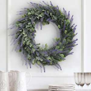 Spring Artificial Lavender Front Door Wreath Home Decor Window Wall Party 45cm