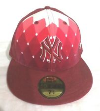 NY YANKEES NEW ERA 59 FIFTY  SZ 7 1/4 Fitted Cap Red Pink Diamond Checker Hat