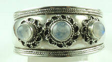 Cuff Bracelet with 3 Moonstone Sterling Silver Statement Wedding Mother of Bride
