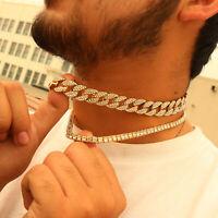 "14k Gold Pl Fully Cz Cuban & 1 Row Tennis Chain Choker 2pcs Bundle Set 18"",18"""