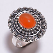 925 Sterling Silver Ring Size US 8, Natural Carnelian Handcrafted Jewelry CR3261