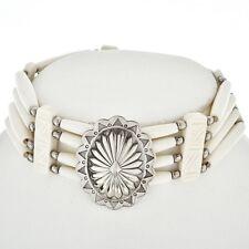 Navajo Silver Concho Indian Bone Choker Necklace
