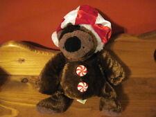"""Cute 9"""" Dan Dee PEPPERMINT button Brown Plush BEAR Santa Hat"""