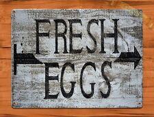 TIN  Sign Fresh Eggs Rooster Chicken Decor Farm Barn Coop