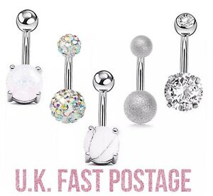 Stunning silver belly bar shamballa diamanté crystal dangle glitter marble Opal