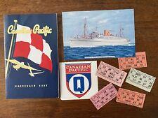 Canadian Pacific Passenger List Empress Of Australia Montreal 19 June 1953
