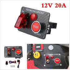 12V Ignition Push Button Start Starter Switch Panel W/Toggle For Car/Boat/Marine