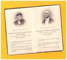 Souvenir de Aline VENARD-GRAILLOT & Claude GRAILLOT Image PIEUSE décédés 1933-36