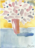 PINK BOUQUET. Original Abstract Watercolor Still Life Painting ACEO mini ART NR