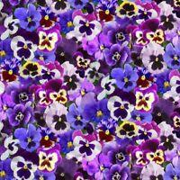 Pansies/Purple Floral Digital Fabric Cotton Fabric by Elizabeth's Studio