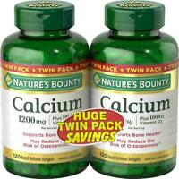 Nature's Bounty Calcium 1200 mg + D Twin Pack Soft Gels, 120 Count Each