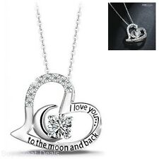 925 Sterling Silver Chain Love You to the Moon Heart Pendant Necklace Jewelry