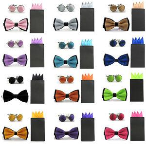 Men Dual Color Satin Bowtie 4 Point Pre-folded Pocket Square Hanky Cufflinks Set