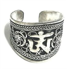 Wide Beautiful Adjustable Tibetan Lotus Filigree Mantra OM Weaving Amulet Ring
