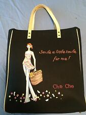 Che Che New York Hand-Painted Black Handbag/Purse Beaded