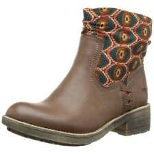 Womens Girls Rocket Dog Tahira Ankle Boot with Contrast Fabric Black Brown New