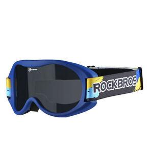 ROCKBROS Kids One-layer Anti-fog Goggles Deep Blue Frame Ski Glasses&Black Band