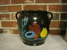 VINTAGE USA CERAMIC BLACK HAND PAINTED CACTUS--MEXICAN POTTERY COOKIE JAR