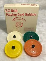 Vintage Playing Card Holder Set E-Z Grip In Box King On Holder Are Jay Game Comp