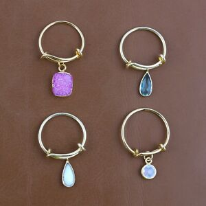 Pink Sugar Druzy Agate Chalcedony Yellow Gold Plated Adjustable Rings Lot 4 Pcs