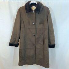 Talbots Petites Coat Jacket Faux Suede Faux Fur Brown Womens Small Petite