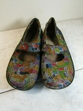 Alegria FEL-180 Multi Color Leather Mary Jane Strappy Shoes Women's Size EU 37