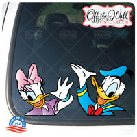 """Donald and Daisy Duck """"HELLO"""" Printed Die-cut Vinyl Stickers For: Cars/Trucks"""