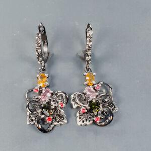 Gemstone earrings Tourmaline Earrings Silver 925 Sterling   /E56890