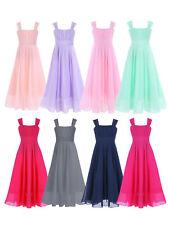 Girls Chiffon Junior Bridesmaid Dress Long Wedding Gown Dance Ball Maxi Dress