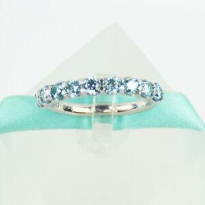 3MM Blue Moissanite Diamond Wedding Band, 925 Sterling Silver, Platinum Plated