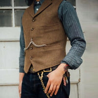 Mens Vintage Wool Blend Vest Tweed Collared Tailored Herringbone Lapel Waistcoat