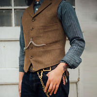 Mens Vintage Herringbone Lapel Waistcoat Vest Wool Blend Tweed Collared Tailored