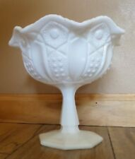 1950s LE Smith Compote Centerpiece Vintage Depression White Milk Glass Dish Bowl
