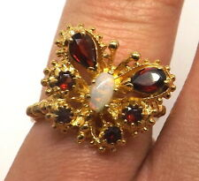 Statement Butterfly Animal Insect Ring Gem Stone 9ct Gold Hallmarked ART NOUVEAU