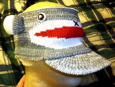 Cute SOCK MONKEY knit Hat, ear warmer muff head wrap - hat headband with bill