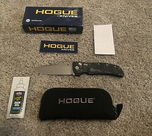 "Hogue EX-01 4"" Tactical Drop Point Blade, G-Mascus Black G-10 Handles - 34159"