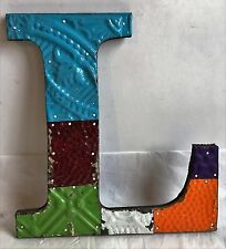 "Antique Tin Ceiling Wrapped 12"" Letter 'L' Patchwork Metal Mosaic MultiColor F7"