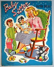 Un-Cut Paper Doll Book Baby Sitter w 2 Children, Samuel Lowe c1950s