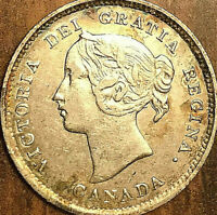 1891 CANADA SILVER 5 CENTS COIN - Excellent example!