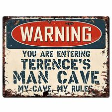 Pp3563 Warning Entering Terence'S Man Cave Chic Sign Home Decor Funny Gift